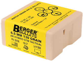 Berger 26195 0.264 130gr AR Hybrid - Tactical OTM - 100