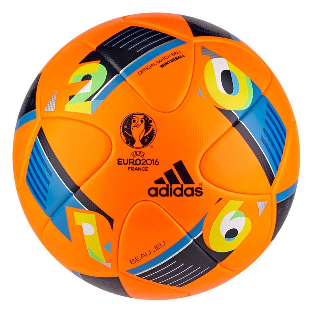 159.99 Add to Cart for Price - Adidas Euro 2016 Beau Jeu Winter Official  Match Soccer Ball (Orange Bright Blue Night Indigo)  194def464b798