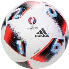 Adidas Euro 2016 Fracas Official Match Soccer Ball (White/Blue/Solar Red/Silver Metallic)