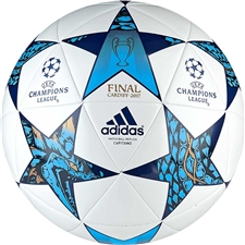 Adidas Finale Cardiff Capitano Soccer Ball (White/Mystery Blue/Cyan)