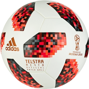 Adidas Telstar 18 Official World Cup Match Ball - Knockout Rounds (White/Solar Red/Black)
