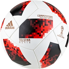 Adidas Telstar 18 World Cup Competition Ball - Knockout Rounds (White/Solar Red/Black)