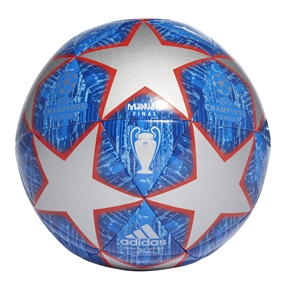 Adidas Finale Madrid Capitano Soccer Ball (Silver Metallic/Bold Blue/Football Blue/Light Blue)