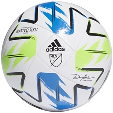 Adidas MLS Training Soccer Ball 2020 (White/Solar Green/Glory Blue/Silver Metallic)