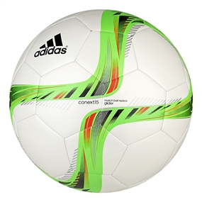 Adidas Conext 15 Glider Soccer Ball (White/Solar Green/Bold Orange)