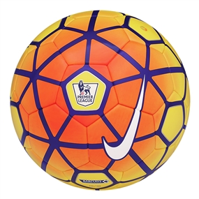 Nike Saber 2015 Hi Vis Premier League Soccer Ball (Yellow/Total Orange/Violet/White)