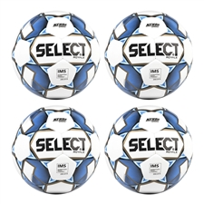 Select Royale Soccer Ball 4 Pack (White/Blue)