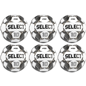 Select Numero 10 Soccer Ball 6 Pack (White/Black/Gold)