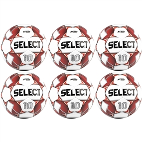 Select Numero 10 Soccer Ball 6 Pack (White/Red)