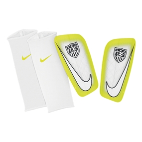 Nike USA Mercurial Lite Soccer Shinguards (White/Volt)
