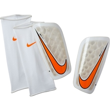 Nike Mercurial Flylite Shin Guards (White/Total Orange)