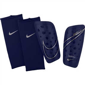 Nike Mercurial Lite Soccer Shin Guards (Blue Void/Metallic Silver)