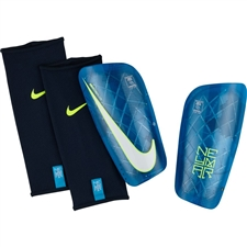 Nike Neymar Mercurial Lite Soccer Shin Guards (Blue Orbit/Volt/White)
