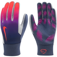 Nike Hyperwarm Youth Field Player Soccer Gloves (Obsidian/Vivid Purple/Total Crimson)