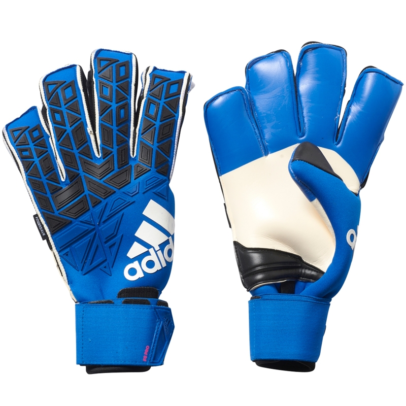 new style db4bb cd1fe Adidas ACE Trans Fingersave Pro Soccer Goalkeeper Gloves (Blue/Core  Black/White/Shock Pink)