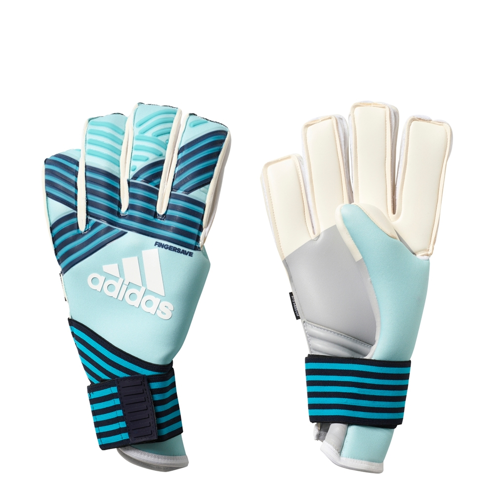 the latest cca7e 0f91e Adidas ACE Trans Fingersave Pro Goalkeeper Gloves (Energy Aqua/Energy  Blue/Legend Ink)