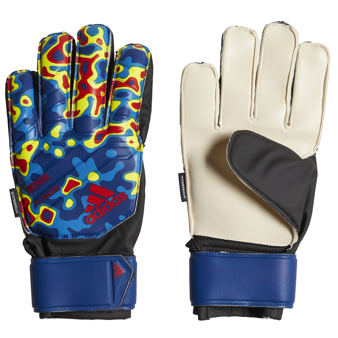 new product 8f8e0 9db6a Adidas Predator Fingersave Junior Manuel Neuer Goalkeeper Gloves (Solar  Yellow Football Blue Active Red)   Adidas DN8604   Adidas Goalie Gloves    Adidas ...