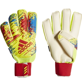 Adidas Classic Pro Fingersave Goalkeeper Gloves (Solar Yellow/Active Red/Football Blue)