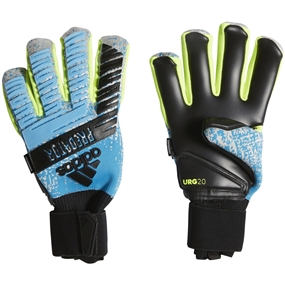 Adidas Predator Pro Fingersave Goalkeeper Gloves (Bright Cyan/Silver Metallic/Solar Yellow/Black)