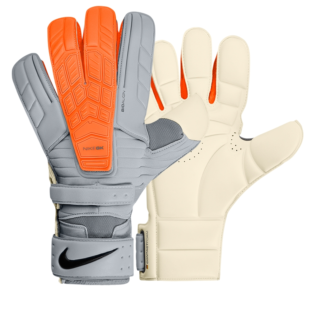 Nike Soccer Gloves: Confidence Soccer Goalkeeper Glove (Grey/Total Orange