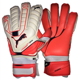 Puma evoPOWER Protect Super Goalkeeper Gloves (White/Lava Blast/Total Eclipse)