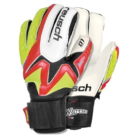 Reusch Waorani D1 Ortho-Tec Soccer Goalkeeper Gloves (Fire Red/Lime Punch)