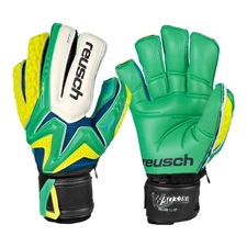 Reusch Waorani Deluxe G2 Ortho-Tec Soccer Goalkeeper Gloves (Irish Green/Safety Yellow/Irish Green)
