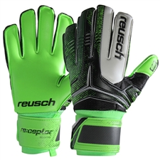 Reusch RE:CEPTOR SG Extra Soccer Goalkeeper Gloves (Black/Green Gecko)