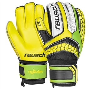 Reusch RE:PULSE Prime S1 Finger Support Junior GK Gloves (Green Gecko/Safety Yellow)