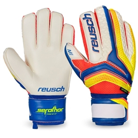 Reusch Serathor Prime M1 Ortho-Tec Goalkeeper Gloves (Dazzling Blue/Safety Yellow)
