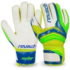 Reusch Junior Serathor SG Finger Support GK Gloves (Electric Blue/Green Gecko)