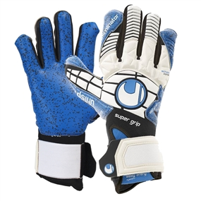 Uhlsport Eliminator Supergrip Goalkeeper Gloves (White/Black/Energy Blue)