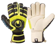 Uhlsport Cerberus Absolutgrip Handbett Soccer Gloves (White/FluoYellow/Black)