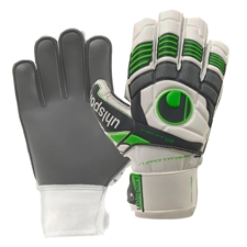 Uhlsport Eliminator Soft Graphit SF Goalkeeper Soccer Gloves (White/Green Flash)