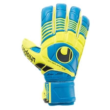 Uhlsport Eliminator Supersoft Goalkeeper Gloves (Cyan/Fluo Yellow/Black)