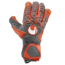 Uhlsport Aerored Supergrip HN Goalkeeper Gloves (Dark Grey/Fluorescent Red)