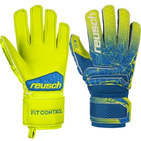 Reusch Junior Fit Control S1 Finger Support GK Gloves (Blue/Lime)