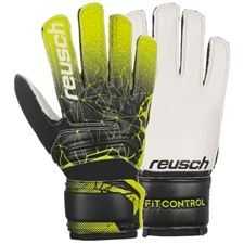 Reusch Junior Fit Control SD Open Cuff Goalkeeper Gloves (Black/Lime Green)