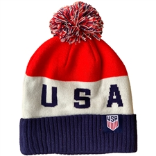Nike USA Soccer Pom Beanie (Blue Void/White/University Red)