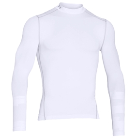 Under Armour Men's ColdGear Compression Mock Long Sleeve (White/Metal)