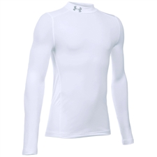 Under Armour Youth ColdGear Mock Long Sleeve (White/Steel)