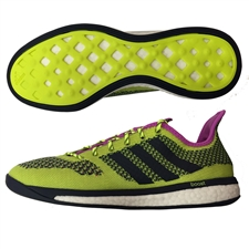 Adidas Primeknit Boost Indoor Soccer Shoes (Solar Yellow/White/Collegiate Navy)