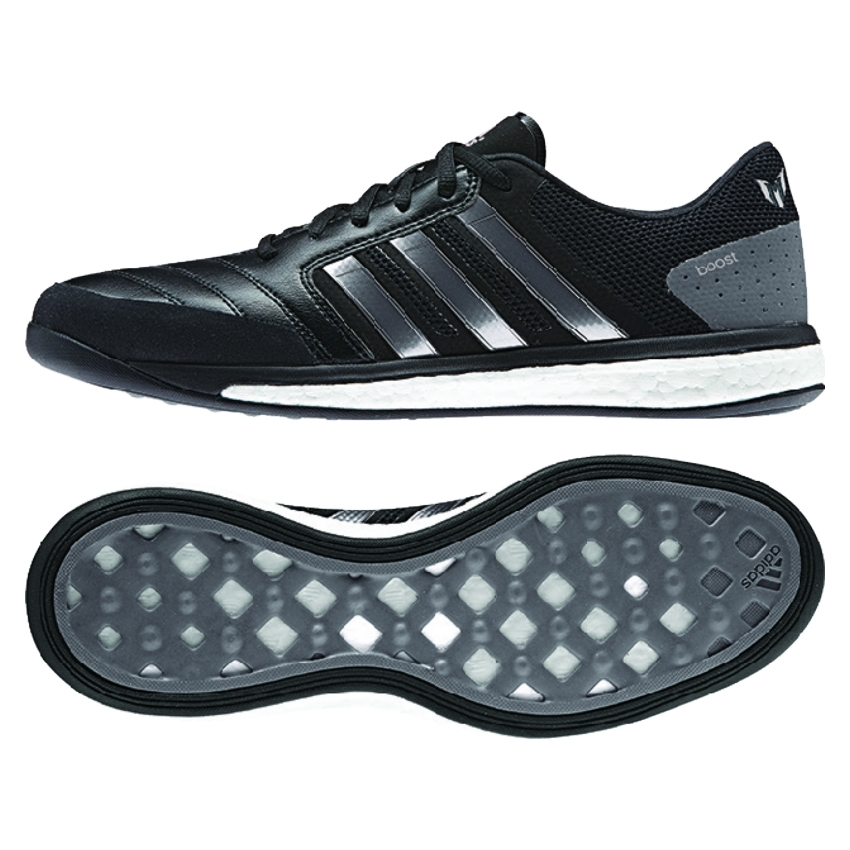 28616393499f ... authentic adidas freefootball boost messi indoor soccer shoes black  granite white 223cb d931a