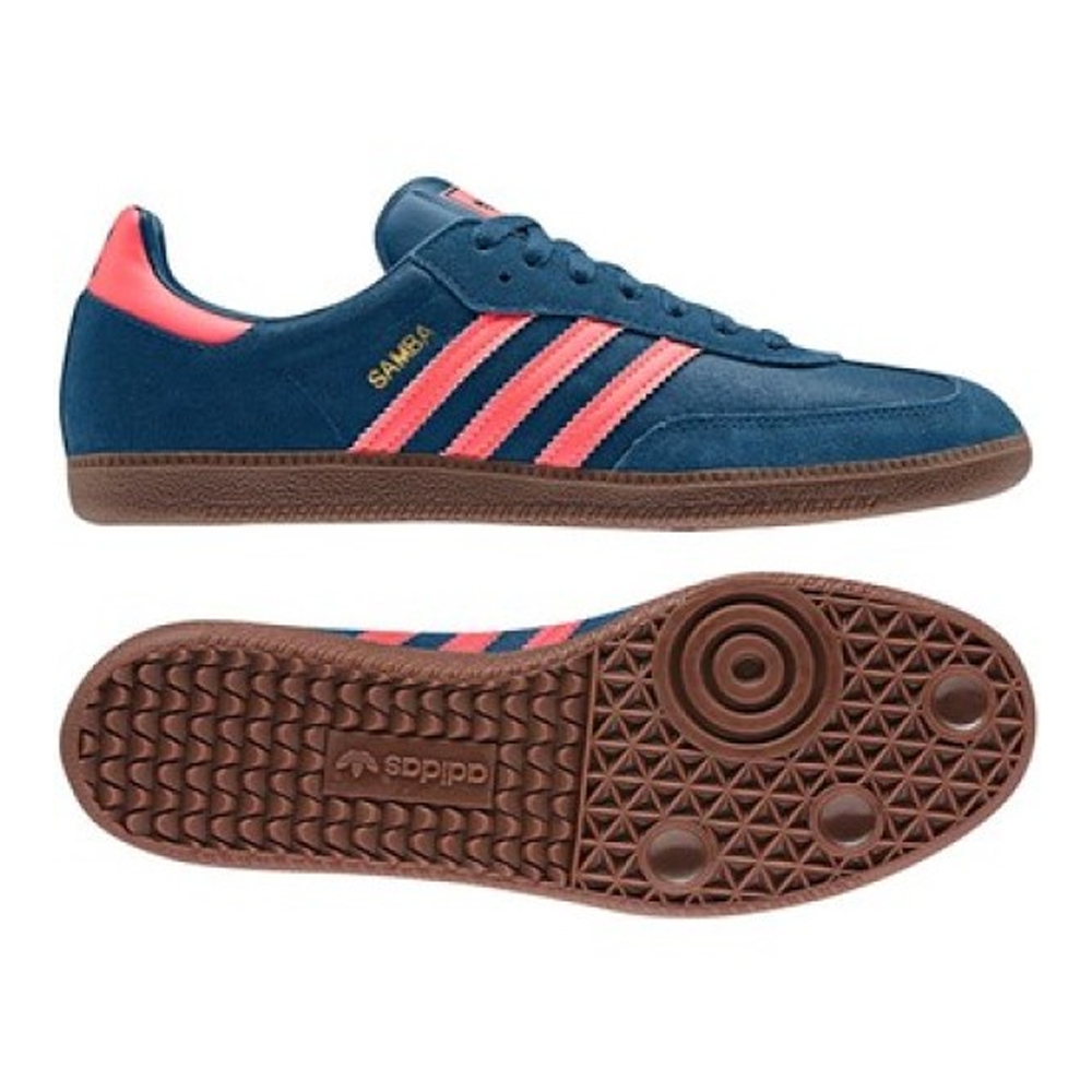 Adidas Samba Originals Indoor Soccer Shoe (Tribe Blue/Red Zest/Gum)