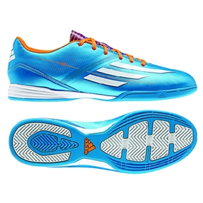 Adidas F10 Indoor Soccer Shoes (Solar Blue/Running White/Solar Zest)