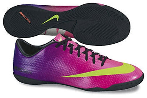 eec619c60 Nike Indoor Soccer Shoes |FREE SHIPPING| 555614-635 | Nike Mercurial  Victory IV Indoor Soccer Shoes in Purple and Green | | soccercorner.com