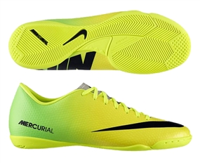Nike Mercurial Victory IV Indoor Soccer Shoes (Vibrant Yellow/Black/Neo Lime)