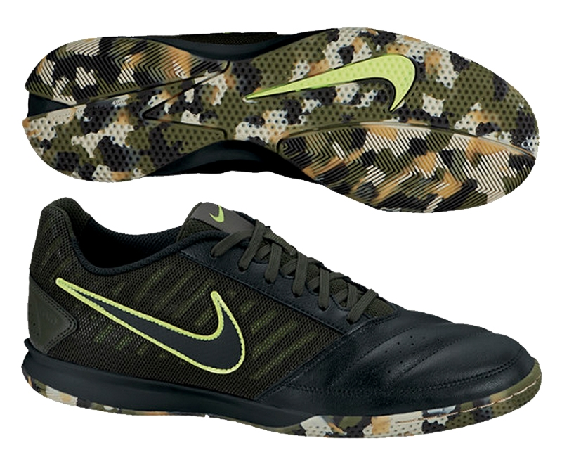 Nike FC247 Gato II Indoor Soccer Shoes (Black/Volt/Dark Army/Black