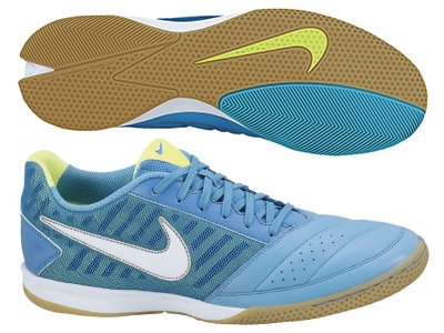 5bba2fc5a0b23b Nike FC247 Gato II Leather Indoor Soccer Shoes (Current Blue Metallic Silver  Hot