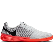 Nike Lunar Gato II Indoor Soccer Shoes (Platinum Tint/Black/Bright Crimson)